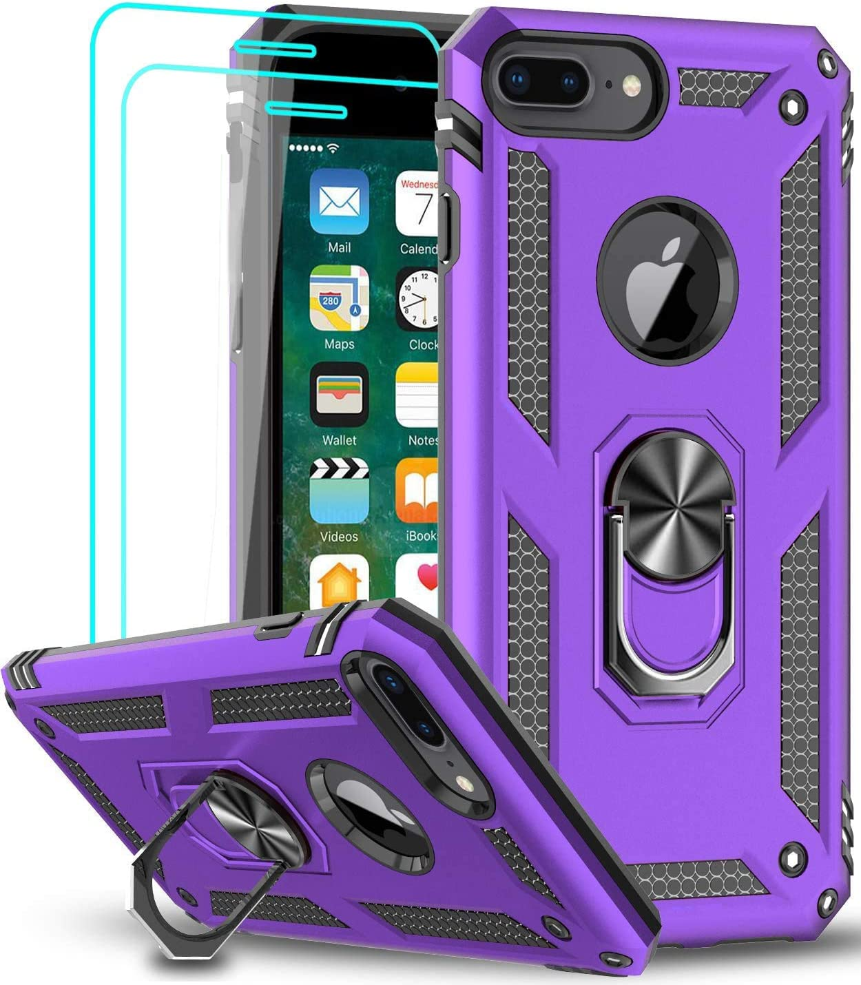 iPhone 8 Plus Case, iPhone 7 Plus Case, iPhone 6 Plus Case with Tempered Glass Screen Protector [2Pack], LeYi Military Grade Phone Case with Rotating Holder Kickstand for iPhone 6s Plus, Purple