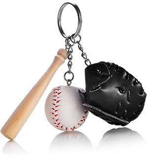 Amazon.com: Bate de béisbol de madera Keychains Llavero, 3 ...