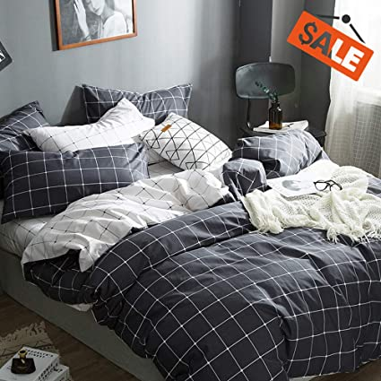 VClife Cotton Bedding Sets Queen/Full Duvet Cover Sets Boy Girl White  Black-gray Bedding Collections Reversible Checkered Grid Pattern 3 PCS Bed  Sets ...