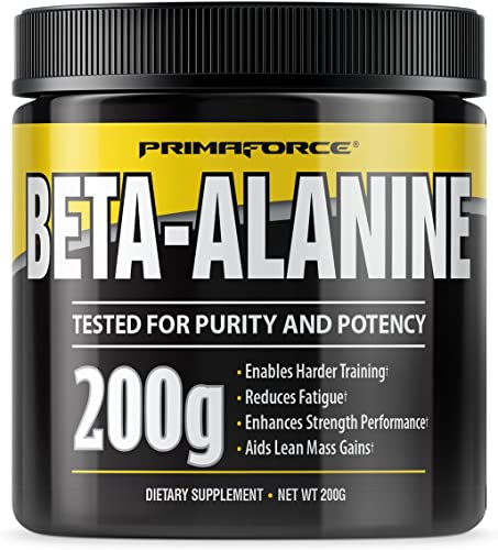 PrimaForce Beta-Alanine Powder Supplement, 200 Grams Enables Harder Training Improves Muscle Gains Increases Workout Capacity Reduces Muscle Fatigue