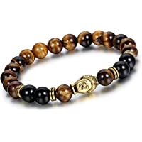 Yellow Chimes D'vine Collection Black Onyx Tiger's Eye Semi Precious Stone Yoga & Meditation Buddha Reiki Healing Bracelet for Men and Women