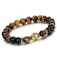 Yellow Chimes Reiki Meditation Buddha Onyx Charm Bracelet for Men (Black, Brown) (YCFJBR-608DVINE-BKBR)
