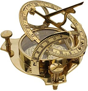 "PARIJAT HANDICRAFT 4"" Sundial Compass - Solid Brass Sun Dial Beautiful Nautical Sundial Compass"