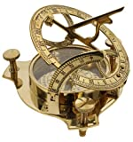 "PARIJAT HANDICRAFT 4"" Sundial Compass - Solid Brass Sun Dial Beautiful Nautical Sundial Compass"