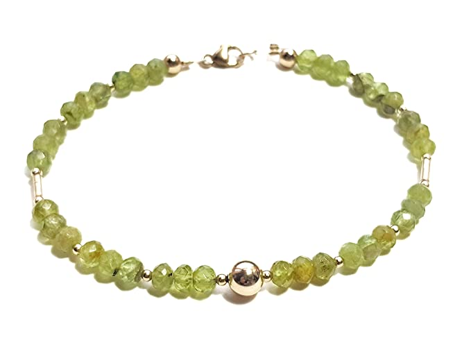 Peridot And 9ct Gold Beaded Bracelet Amazoncouk Handmade