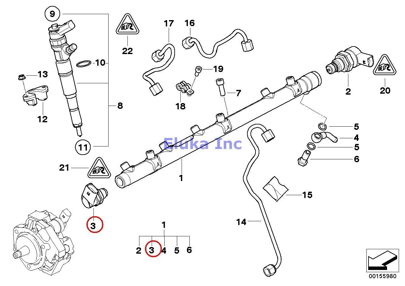 BMW Genuine High pressure accumulator/injector/line Pressure Sensor