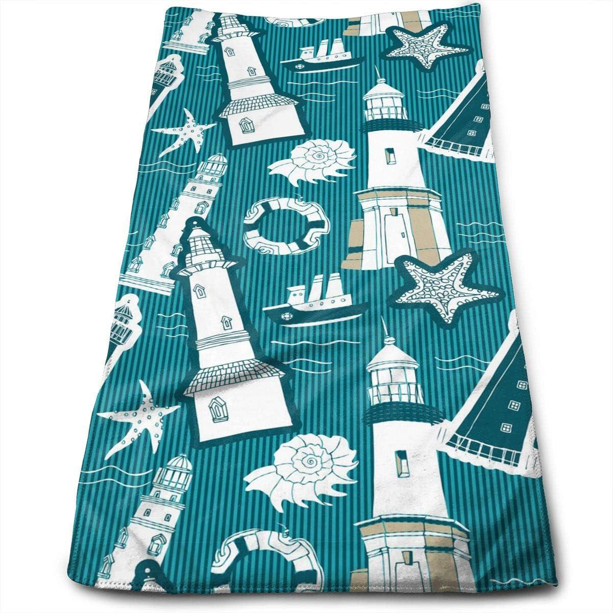 Nautical Lighthouse Life Ring Hand Towels Bathroom Soft Blue Ocean Starfish Seashell Bath Towel Absorbent Kitchen Dish Towel Home Decor 27.5'' X 12''