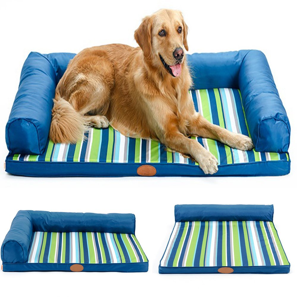 CERBERUS bluee Stripe Oxford Cloth Kennel With Pillow Waterproof NonSlip,Three,S
