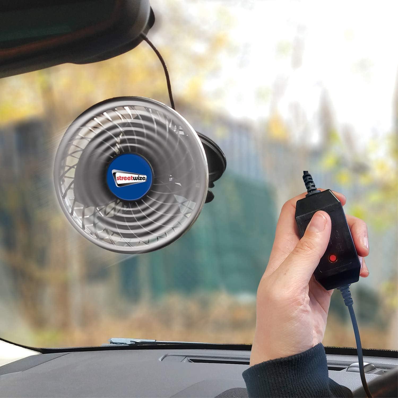 Streetwize SWCF6 Cyclone Ventilateur avec 3 puissances oscillantes uniques ventouse Ventilateur portable de voiture avec t/ête rotative /à 360/° 2 commandes de vitesse 12 V