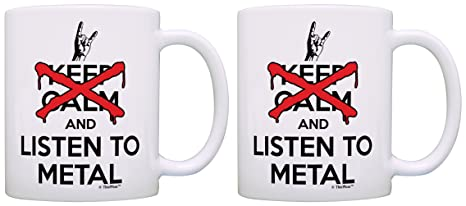 White Metal Band And Gift Keep Rock Mugs 2 Coffee Don't Tea Calm Cups Listen To Pack Metalhead Gifts 1JF3lKcT