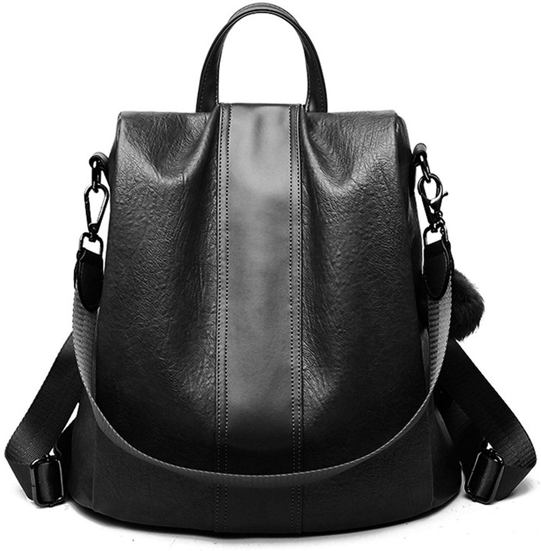 Riavik Women Backpack Purse Waterproof Nylon Anti-theft Rucksack Scool Shoulder Bag for Girls PU-Black