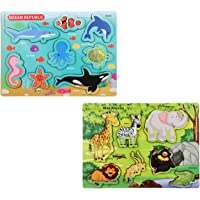 Knack Wooden Educational Puzzles for Kids (Wild Animals & Acquatic Animals)