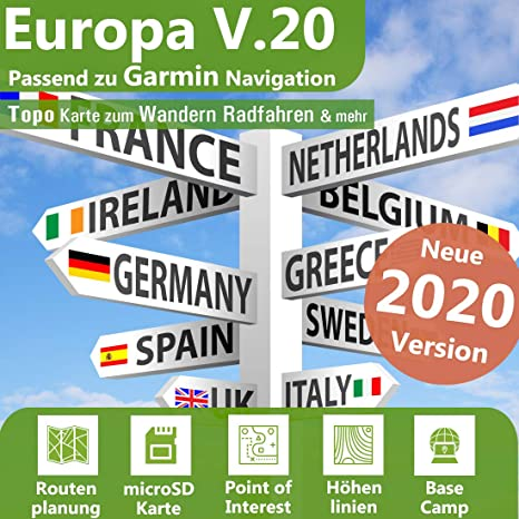 16 GB Tarjeta Topo Europe líneas de altitud Préparation para ...