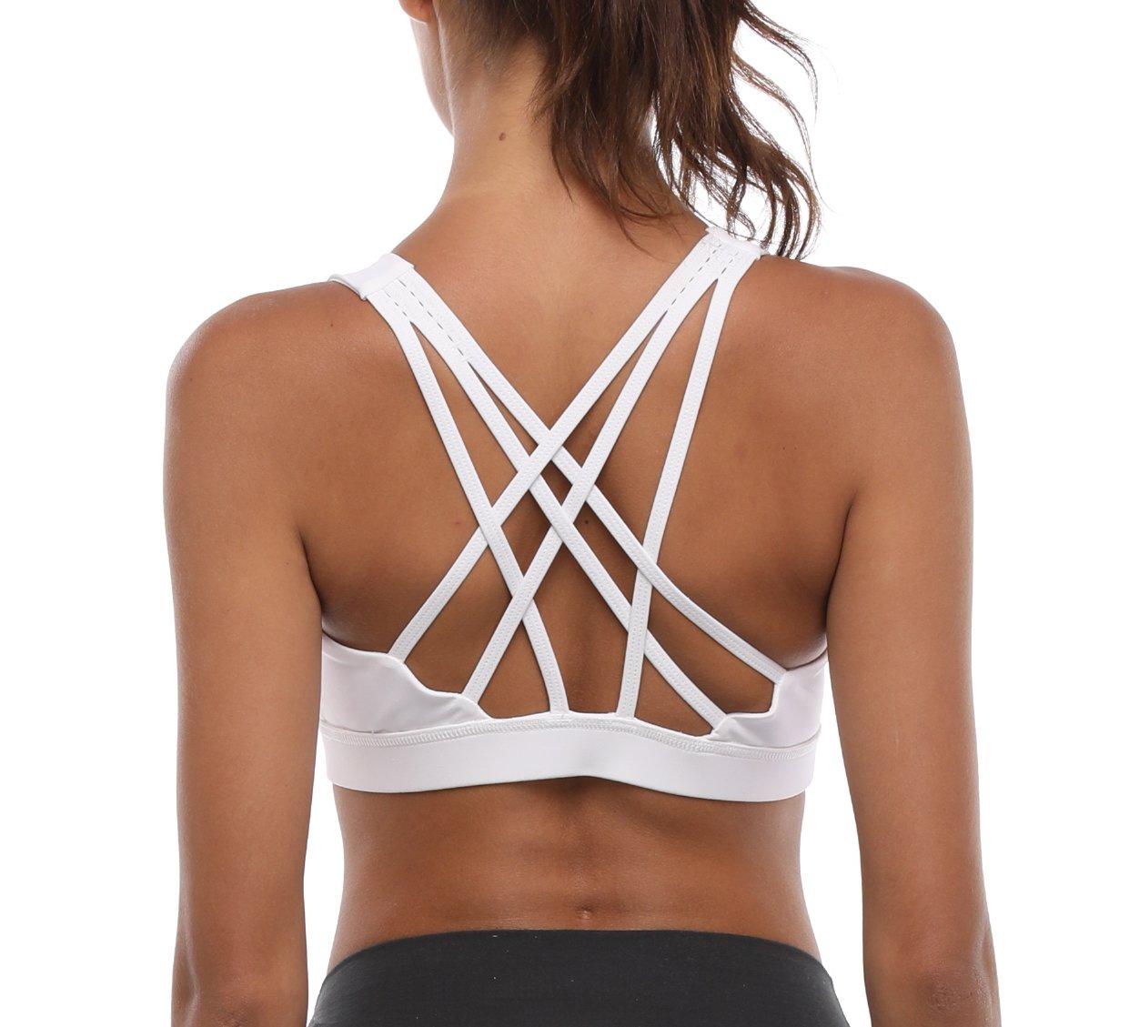 Women's Sports Bra Strappy Activewear Workout Racerback Yoga Bra