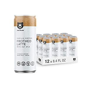 Two Bears Frothed Vanilla Oat Milk Latte (12-Pack, 8.5oz Cans), Nitrogen-infused Cold Brew Coffee Drink   Convenient, Ready-To-Go Can   100% Vegan, Dairy Free & Direct Trade Coffee Beverage