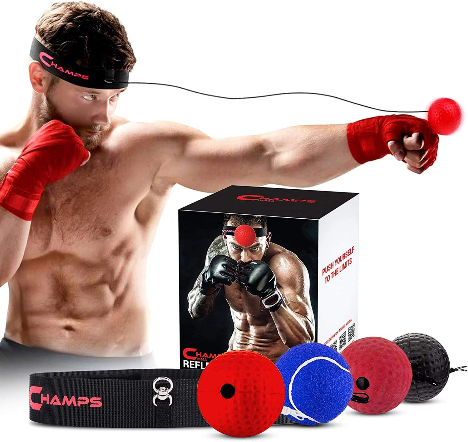 Boxing Reflex Ball Set - 4 Difficulty Levels Great for Reaction Speed and Hand Eye Coordination Training Boxing Equipment Fight Speed, Boxing Gear, Punching Ball Reflex Bag Alternative (Set of 4) : Sports & Outdoors