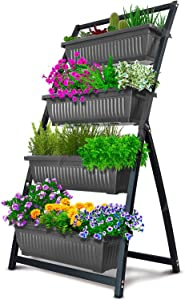 4-Ft Raised Garden Bed - Vertical Garden Freestanding Elevated Planters 4 Container Boxes - Good for Patio Balcony Indoor Outdoor - Cascading Water Drainage (1-Pack Fernie/Granite Grey)