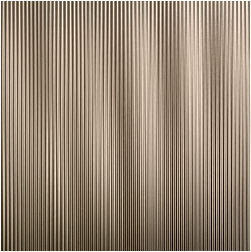 FASÄDE - Easy Installation Rib Brushed Nickel Lay in Ceiling Tile/Ceiling Panel (2' x 2' Tile)