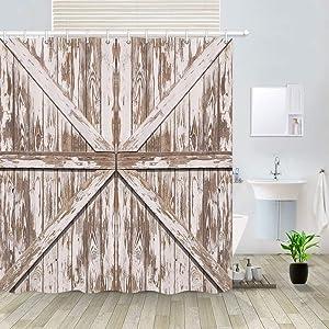 Rustic Barn Door Shower Curtain, Vintage Wooden Painted Plank Village Barn Door Retro Farmhouse Decor Western Country Theme Bath Curtains, Polyester Fabric Bathroom Shower Curtain 12PCS Hooks, 69X70IN
