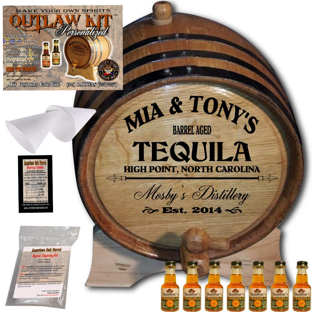Personalized Tequila Making Kit (064) - Create Your Own Golden Tequila - The Outlaw Kit from Skeeter's Reserve Outlaw Gear - MADE BY American Oak Barrel - (Oak, Black Hoops, 5 Liter)