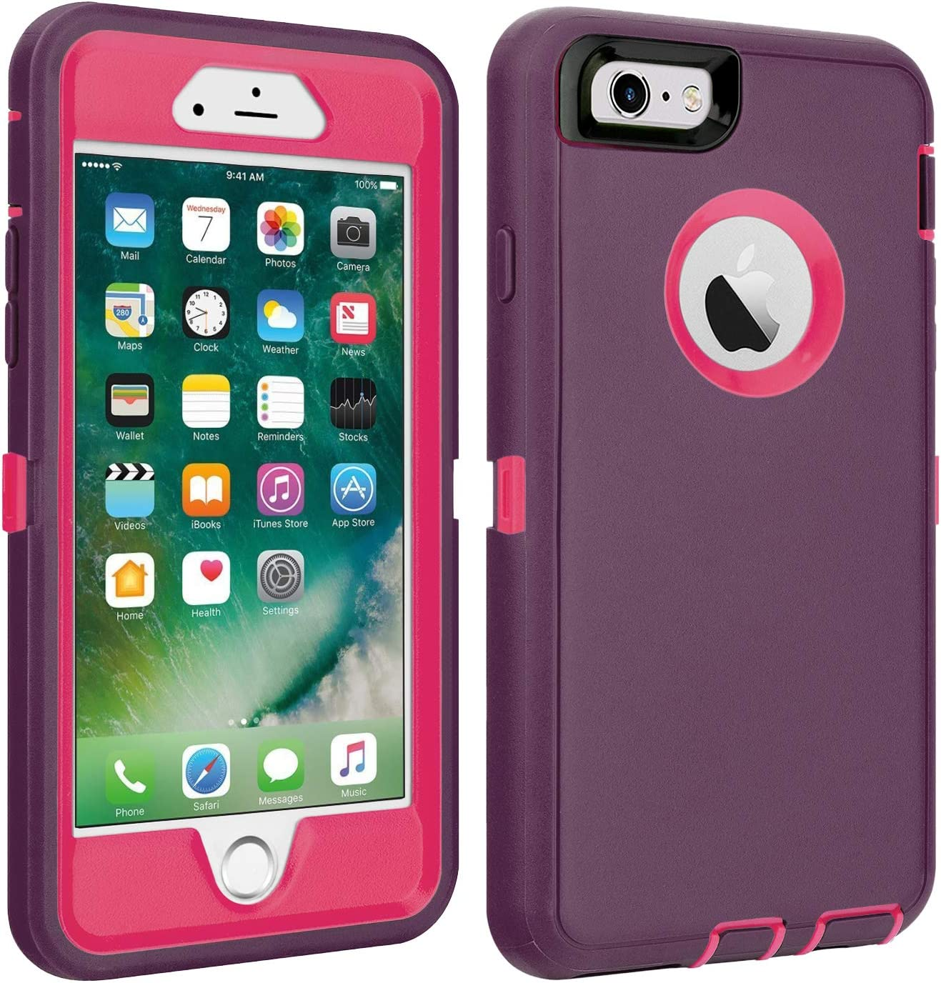 "CAFEWICH iPhone 6/6S Case Shockproof High Impact Tough Rubber Rugged Hybrid Case Silicone Triple Protective Anti-Shock Shatter-Resistant Mobile Phone for iPhone 6/6S 4.7"" (Wine/Rosered)"