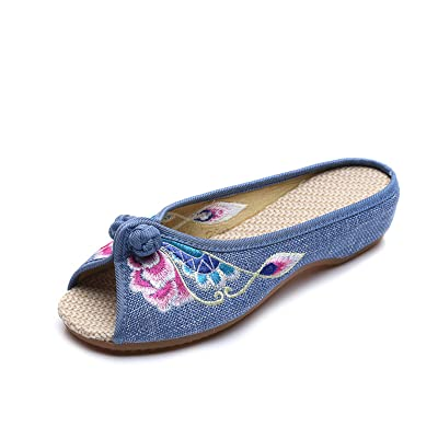 2017 Flowered Embroidered Summer House Flat Casual Shoes Women's Chinese Style Soft Frog Linen Slippers
