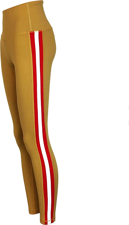 Twin Vision Activewear Triple Threat Striped Yoga Pant Full Length Leggings Gold