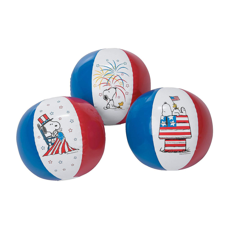 Fun Express - Peanuts Patriotic Beach Balls (11'') for Fourth of July - Toys - Inflates - Beach Balls - Fourth of July - 12 Pieces