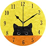 senya Cat Pattern Silent Round Wall Clock Decorative, Battery Operated Easy to Read for Indoor Living Room Bedroom…