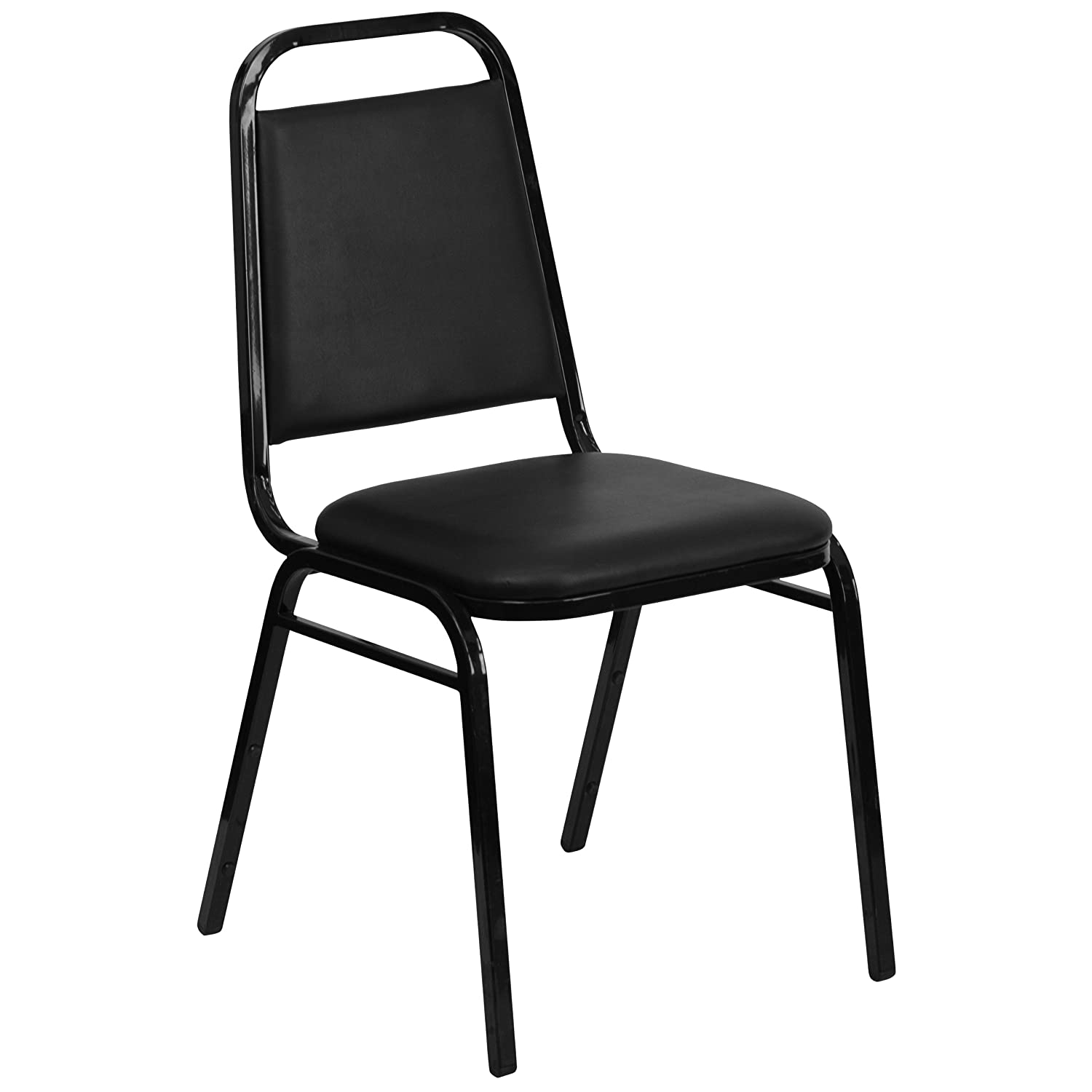 Flash Furniture 4 Pk. HERCULES Series Trapezoidal Back Stacking Banquet Chair in Black Vinyl – Black Frame – 4-FD-BHF-2-GG