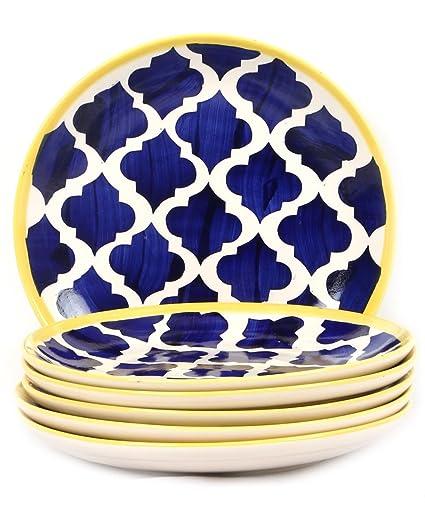 VarEesha Moroccan Blue Ceramic Full Plates Set of 6/Dinner Set Plates/Ceramic Stoneware  sc 1 st  Amazon.in & Buy VarEesha Moroccan Blue Ceramic Full Plates Set of 6/Dinner Set ...