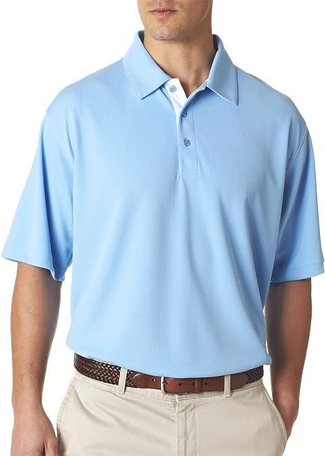 UltraClub Mens Birdseye Contrast Under Collar Polo Shirt Columbia Blue 3XL