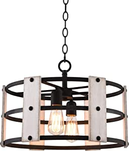 "Kira Home Madera 17"" 4-Light Modern Farmhouse Chandelier + Wood and Metal Round Shade, 2 Wood Panel Styles (White Ash/Walnut), Textured Black Finish"