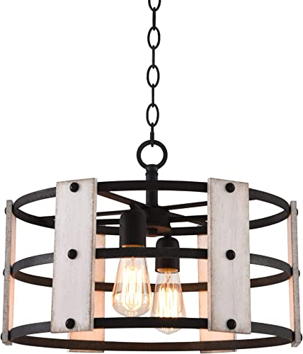 Kira Home Madera 17 4-Light Modern Farmhouse Chandelier Wood and Metal Round Shade, 2 Wood Panel Styles, Textured Black Finish