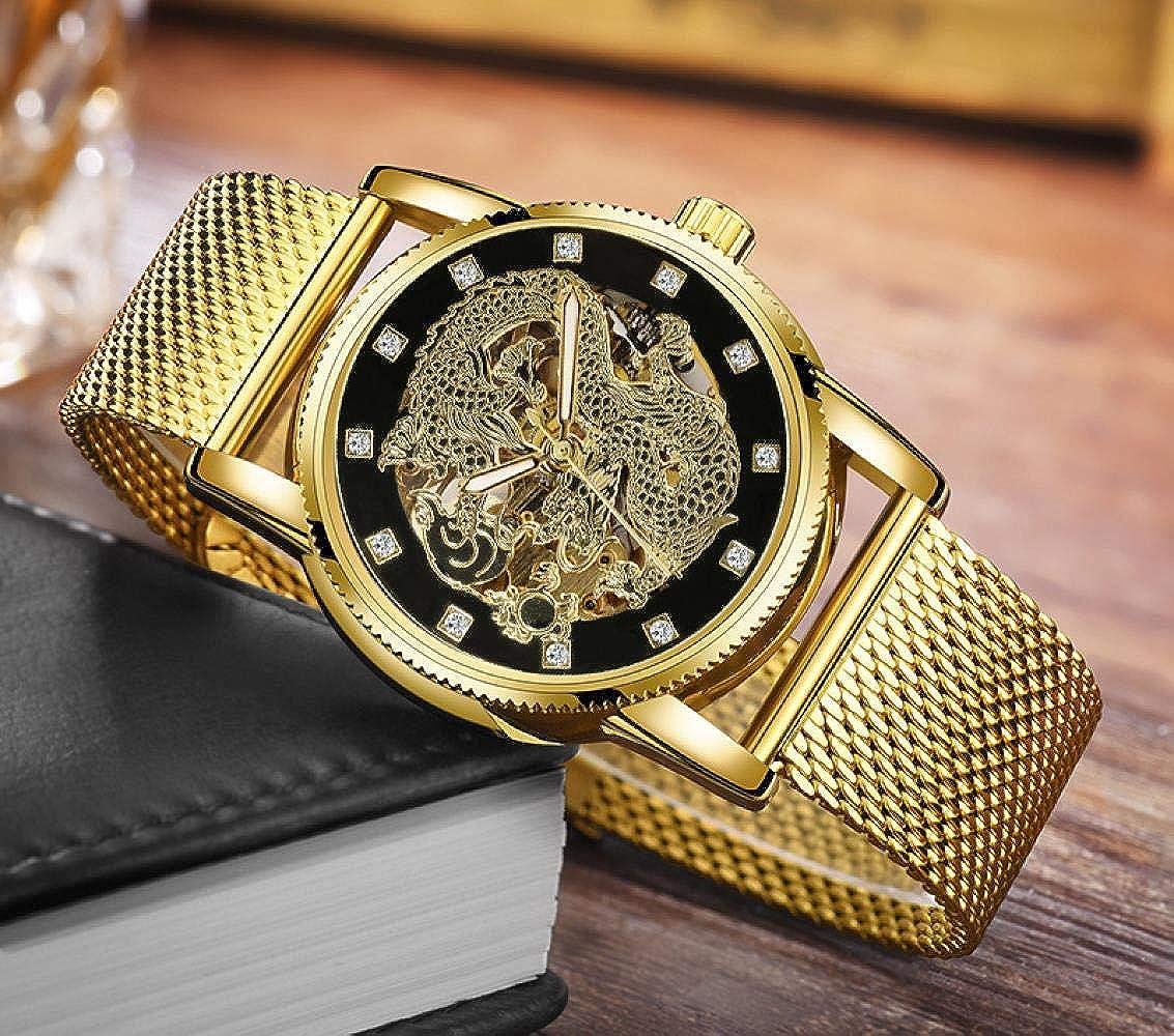 Montres Bracelet,Montre De Mode À Cadran De Dragon en Relief Montre pour Homme Étanche À Diamant E