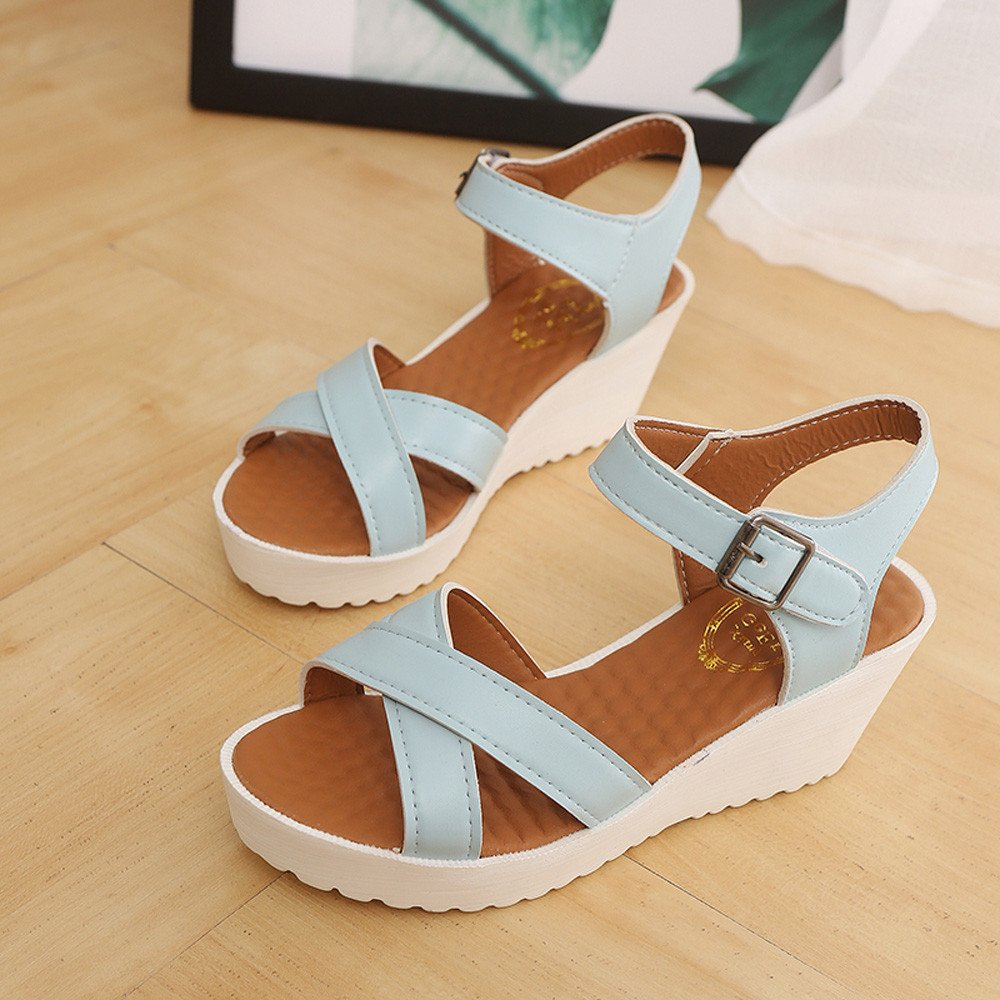 Women Outdoor Round Toe Platform High Heels Wedges Sandals Buckle Slope Shoes by Youngh Mothers Day gift womens sandals