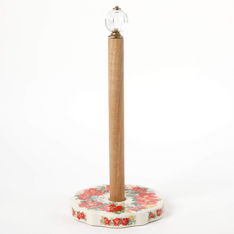 The Pioneer Woman Pioneer Vintage Floral 6.75-Inch Utensil Holder /& Vintage Floral Paper Towel Holder With Rose Shadow Spoon Rest