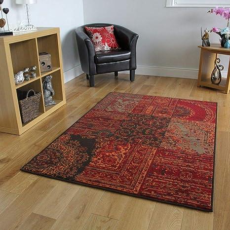 The Rug House Milan Traditioneller Teppich mit Patchwork-Muster für das  Wohnzimmer in Rot-, Braun-, Grau- und Orangefarbtönen 160cm x 230cm