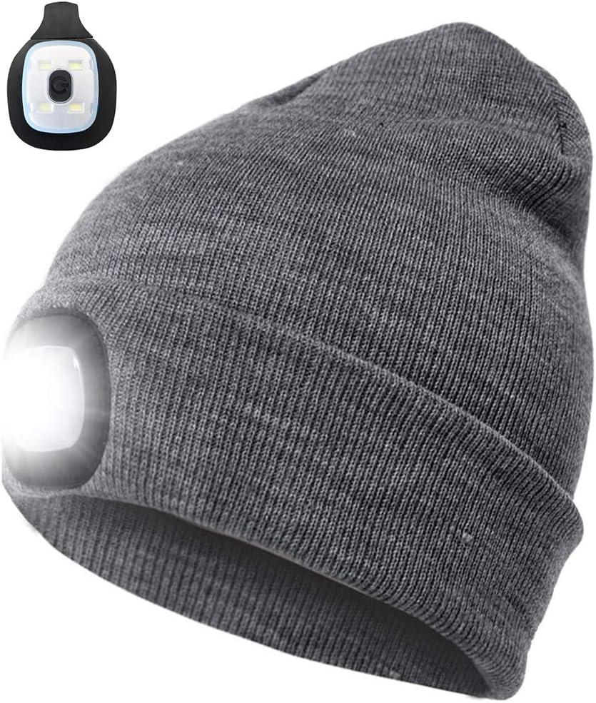 COTOP Gorra de Faro Unisex de 4 LED, Gorro de Invierno cálido con Manos Libres Gorro de Sombrero Iluminado con 3 Niveles de Brillo para Caminar de Noche, Acampar, Andar en Bicicleta (