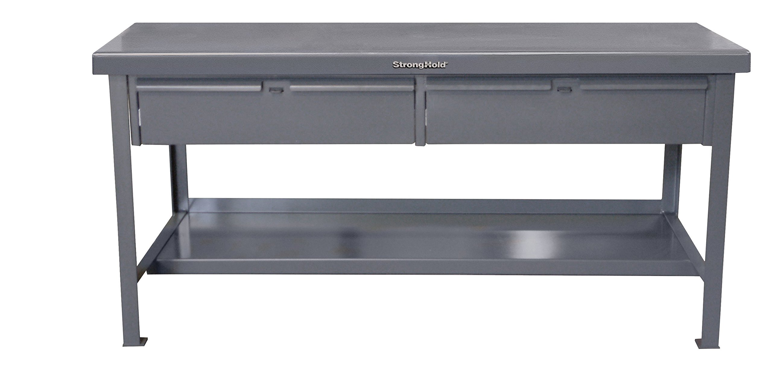 Strong Hold, 48''W x 30''D x 34''H, Workbench / Table, Heavy-Duty, Welded and Assembled, Dark Gray, 7-Gauge Steel Work Surface with 5,500 lbs. Capacity, 3 Lockable Drawers - USA