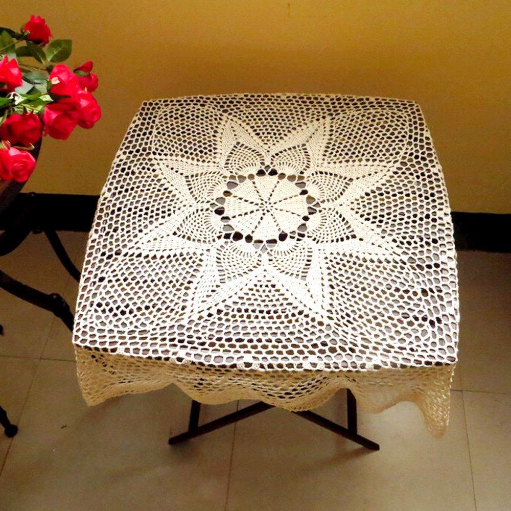 tidetex rural estilo cuadrado mano ganchillo mantel Retro de servilleta Floral Hollow Out toalla de tejido de flores de encaje hecho a mano Funda para mesa ...