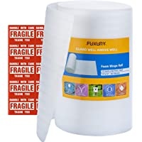 """FUXURY Foam Wrap Roll 12""""x60' (Feet),60 Pack 12"""" X 12"""" Packing Foam Sheets Packing Supplies for Moving,Packing Supplies Foam Wrap Moving Supplies Free Fragile Sticker Labels"""