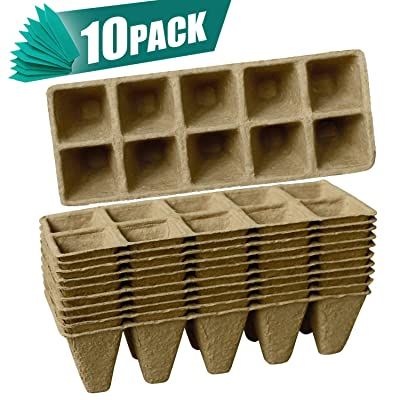 Sfee 10 Pack Seed Starter Tray 100 Cell Peat Pots Kits, Biodegradable Compostable Planting Pots Germination Sow and Grow Seed Trays for Garden Seedling Vegetable Flower Home with 10 Plant Labels: Home Improvement