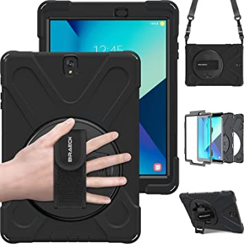 Amazon Com Braecn Samsung Galaxy Tab S3 9 7 Case Sm T820 Heavy Duty Shockproof Rugged Armor Three Layer Hard Pc Silicone Hybrid Impact Resistant Defender Full Body Protective Case With A Hand Strap Black