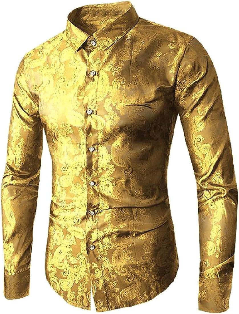 Losait Mens Rockabilly Original Fit Charmeuse Prodenia Long Shirt