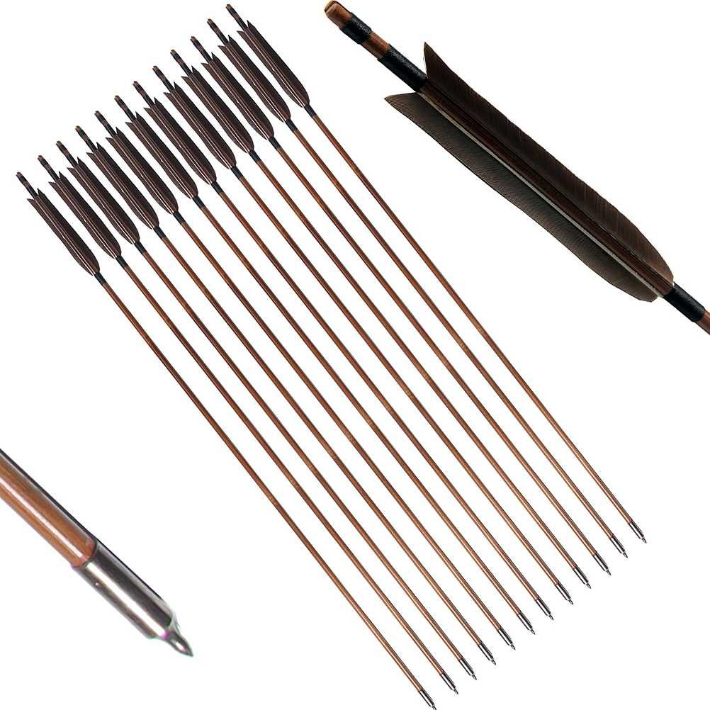 PG1ARCHERY Archery Bamboo Arrows, 12 Pack Practice Targeting Hunting Arrow Handmade Self Nock 6.2 Turkey Feather Fletched for Longbow Traditional & Recurve Bow Gray