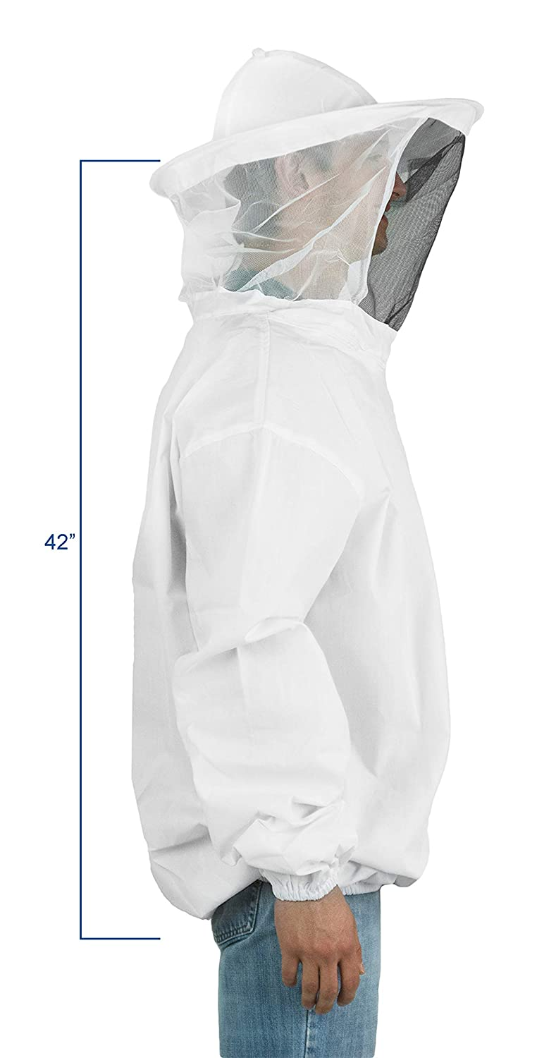 VIVO Professional White Medium/Large Beekeeping Suit, Jacket, Pull Over, Smock with Veil (BEE-V105)