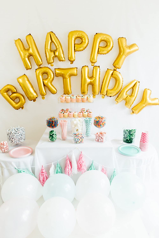 Amazon.com: Happy Birthday Balloon Banner, 16-inch, Matte Gold ...