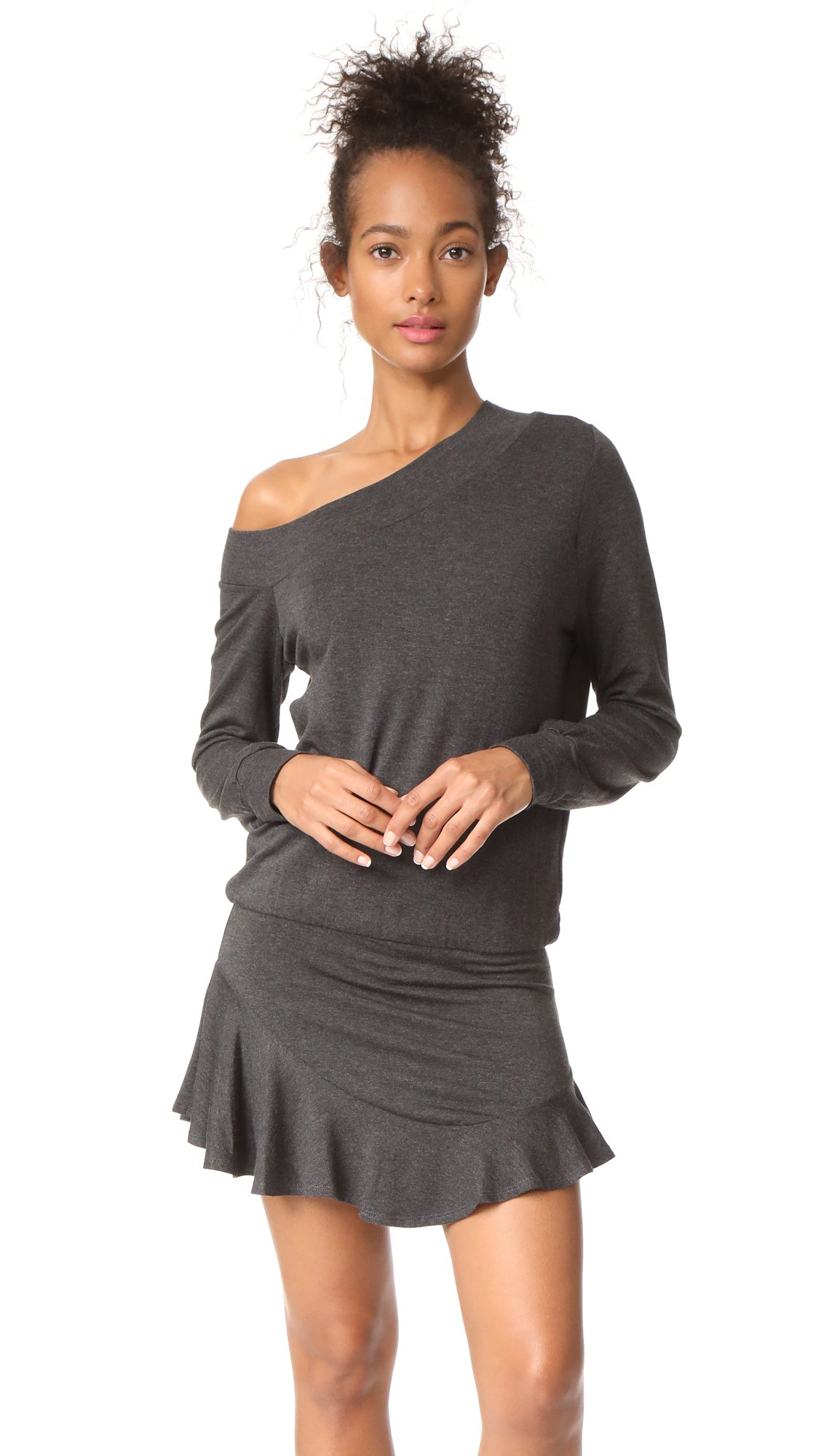 Riller & Fount Women's Paddy Off the Shoulder Romper, Stud French Terry, 1