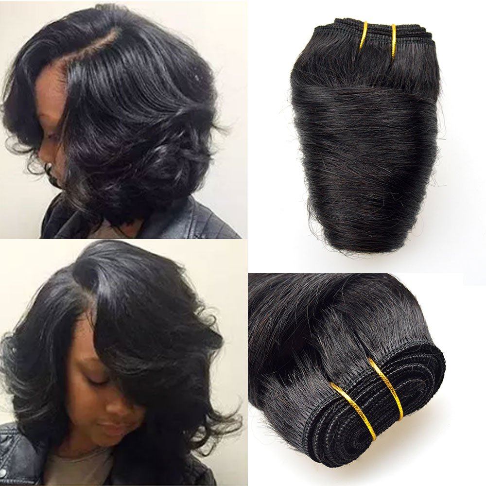 Barroko Hair Bob Sew Peruvian Loose Wave 4 Bundles Natural Black 8 Inch Spring Curly Short Weave Human Hair 200g Peruvian Virgin Hair Texture